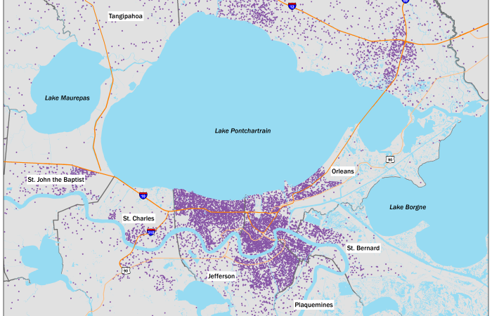 Jefferson Parish Zip Code Map.New Orleans Area Maps The Data Center