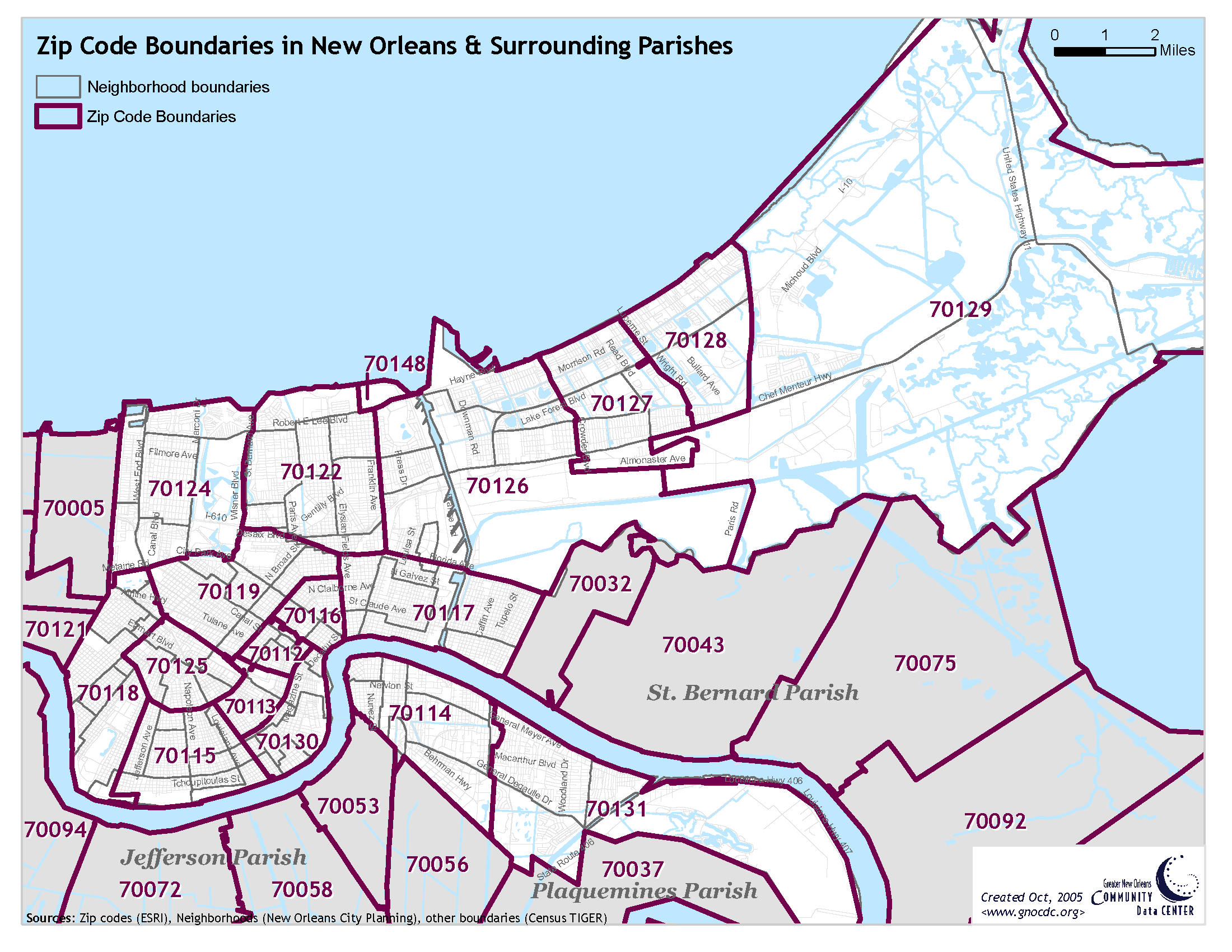 Zip Code Map New Orleans Reference Maps | The Data Center