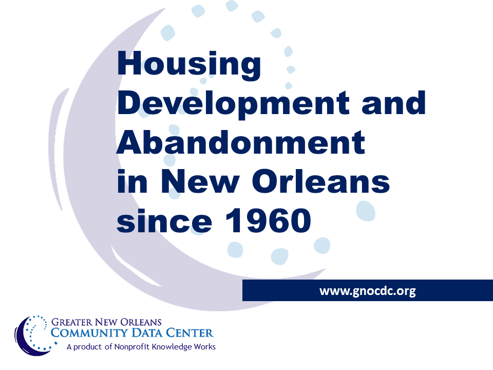 Housing Development and Abandonment in New Orleans: Slides