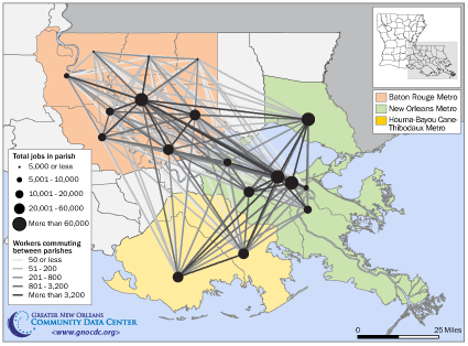 Economic ties across Southeast Louisiana: Preliminary findings from commuter data