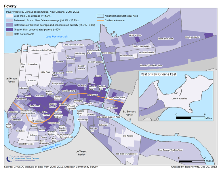 New Orleans Kids Working Parents And Poverty The Data Center - Us poverty map census bureau