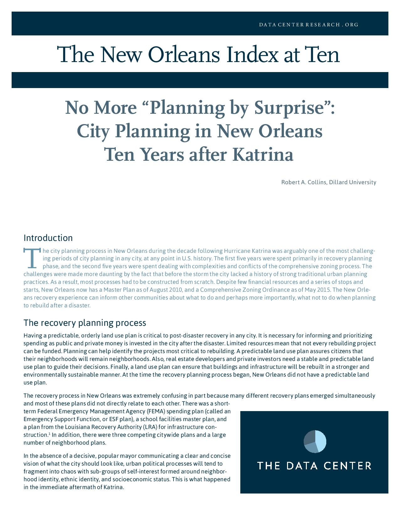 "No More ""Planning by Surprise"": City Planning in New Orleans Ten Years after Katrina"