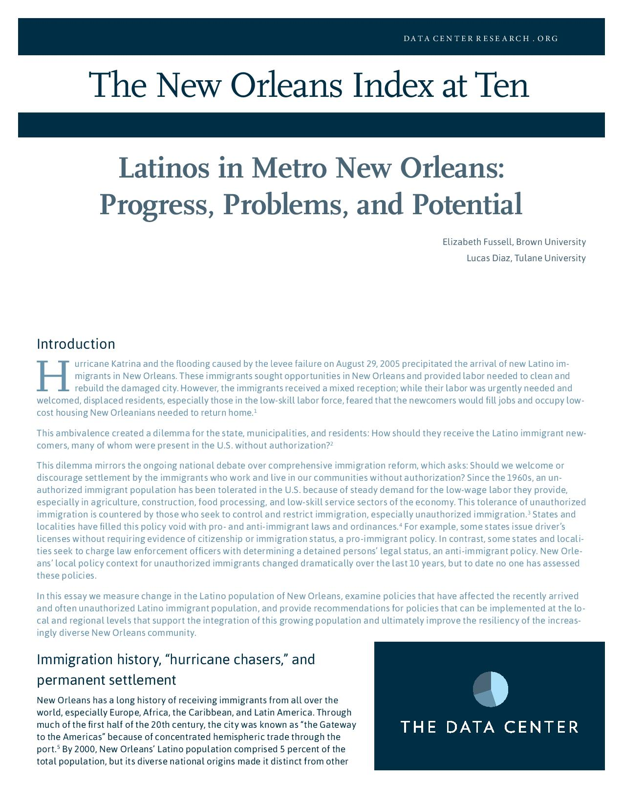 Latinos in Metro New Orleans: Progress, Problems, and Potential