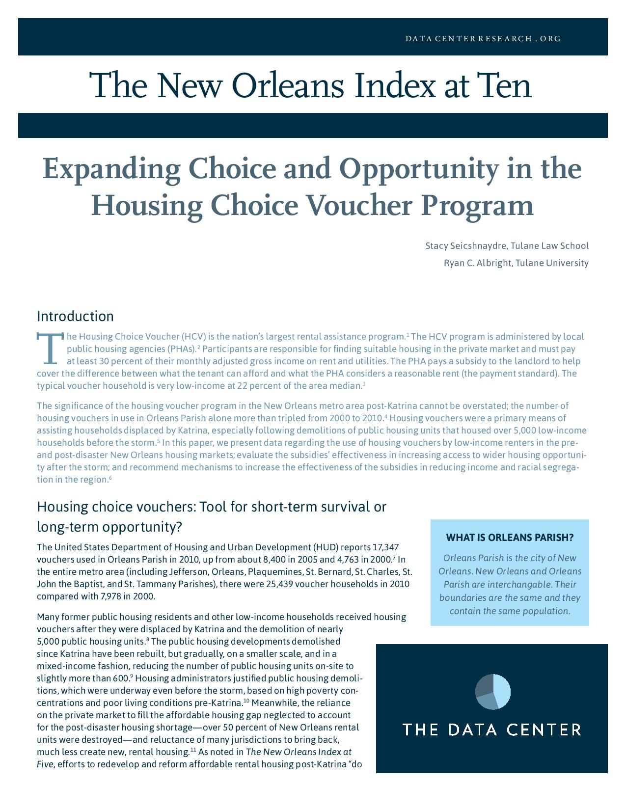 Expanding Choice and Opportunity in the Housing Choice Voucher Program