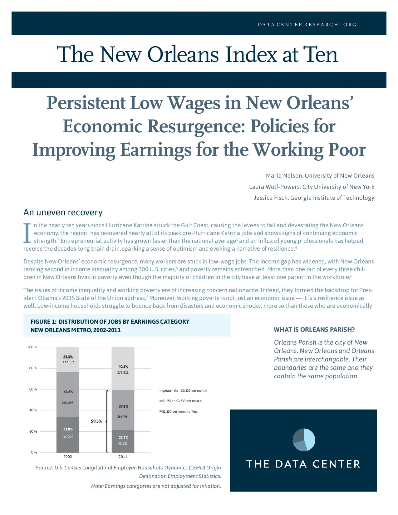 Persistent Low Wages in New Orleans' Economic Resurgence: Policies for Improving Earnings for the Working Poor