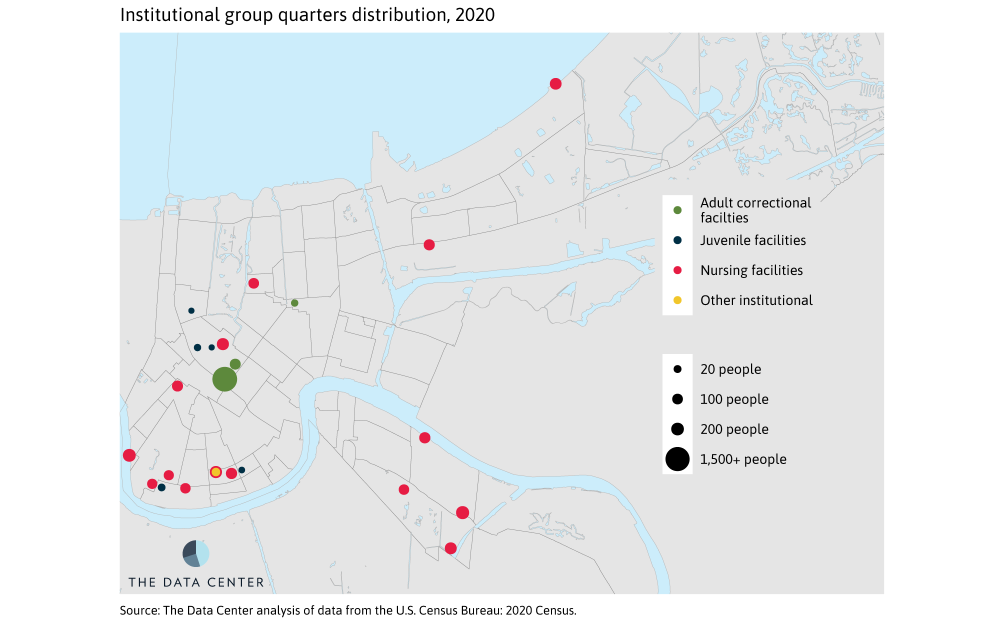 Residents in group quarters and average household size across the New Orleans metro